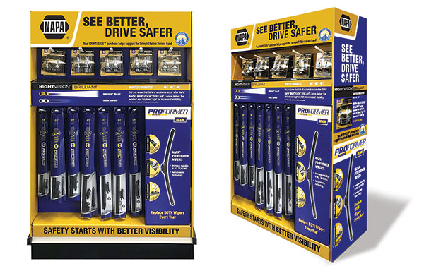 NAPA®'s new Premium Night Vision™ Brilliant Lamps and NAPA® Proformer Beam Wiper Blades Prepacked Endcap Display