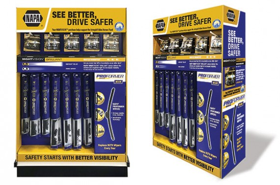 NAPA®'s new Premium Night Vision™ Brilliant Lamps and NAPA® Proformer Beam Wiper Blades Prepacked Endcap Display