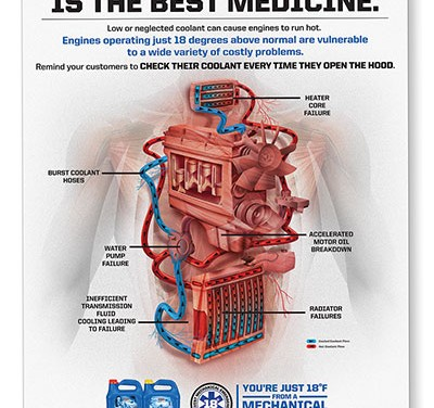 """PEAK® Coolant Medical Campaign Poster - """"Prevention is the Best Medicine""""."""
